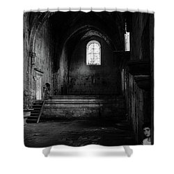 Shower Curtain featuring the photograph Rioseco Abandoned Abbey Nave Bw by RicardMN Photography