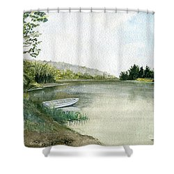 Shower Curtain featuring the painting River Light by Melly Terpening