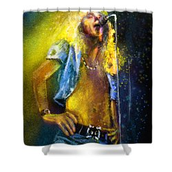 Robert Plant 01 Shower Curtain by Miki De Goodaboom