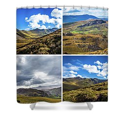 Shower Curtain featuring the photograph Postcard Of Rock Formation Landscape With Clouds And Sun Rays In Ireland by Semmick Photo