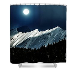 Rocky Mountain Glory In Moonlight Shower Curtain by Elaine Hunter