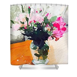Roses In The Living Room Shower Curtain