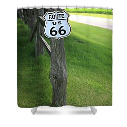 Shower Curtain featuring the photograph Route 66 Shield And Fence Post by Frank Romeo