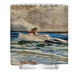 Rowing At Prouts Neck Shower Curtain by Winslow Homer