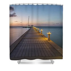 Shower Curtain featuring the photograph Rum Point Pier At Sunset by Adam Romanowicz