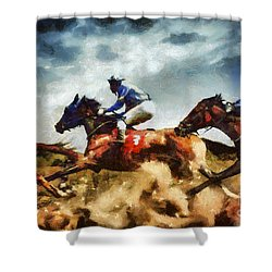 Shower Curtain featuring the painting Running Horses Competition Jockeys In Horse Race by Dimitar Hristov