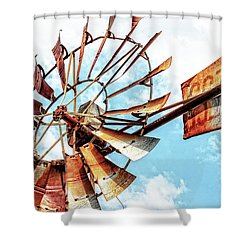 Rusted Windmill Shower Curtain