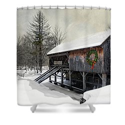Rustic Holiday Shower Curtain