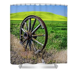 Rustic Wagon Wheel In The Palouse Shower Curtain by James Hammond