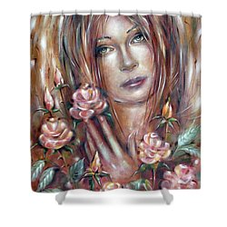 Sad Venus In A Rose Garden 060609 Shower Curtain