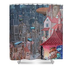Saga Of The City Of Zeppelins Shower Curtain