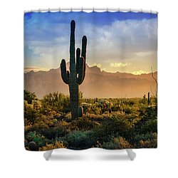Shower Curtain featuring the photograph Saguaro Sunrise In The Superstitions  by Saija Lehtonen