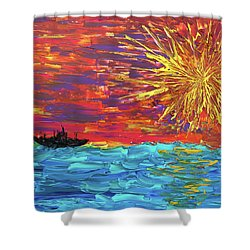 Sailing From The Sun Shower Curtain by Erik Tanghe