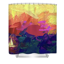 Sailing Shower Curtain by James Bethanis