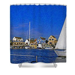 Shower Curtain featuring the photograph Sailing Marina Del Rey Fisherman's Village by David Zanzinger