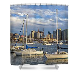 San Diego Harbor Shower Curtain by Peter Tellone