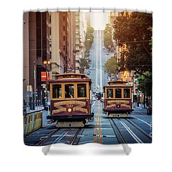 San Francisco Cable Cars Shower Curtain by JR Photography