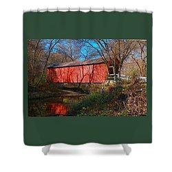 Sandy /creek Covered Bridge, Missouri Shower Curtain by Steve Warnstaff