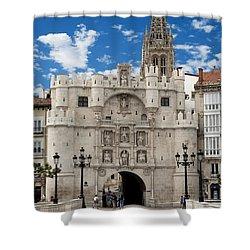 Santa Maria Arch - Old City Entry - Burgos Spain Shower Curtain by Jon Berghoff