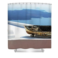 Santorini Greece Shower Curtain by Bob Christopher