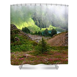 Sauk Mountain Lake Shower Curtain by Karen Molenaar Terrell