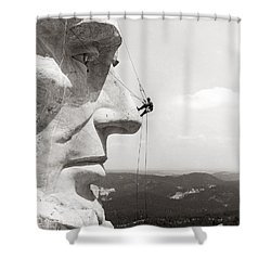 Scaling Mount Rushmore Shower Curtain by Granger