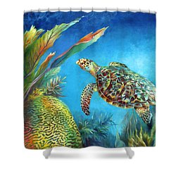 Sea Escape Iv - Hawksbill Turtle Flying Free Shower Curtain