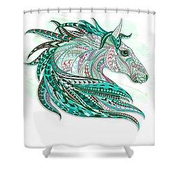Sea Green Ethnic Horse Shower Curtain