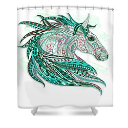 Sea Green Ethnic Horse Shower Curtain