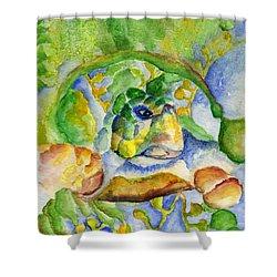 Sea Turtle Hideaway Shower Curtain by Tamyra Crossley