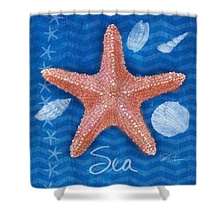 Seashells On Blue-sea Shower Curtain