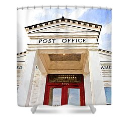 Seaside Post Office Shower Curtain by Scott Pellegrin