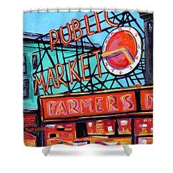 Seattle Public Market Shower Curtain by Marti Green
