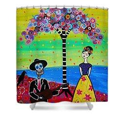 Serenading Frida Shower Curtain by Pristine Cartera Turkus