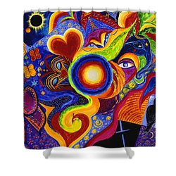 Shower Curtain featuring the painting Magical Eclipse by Marina Petro