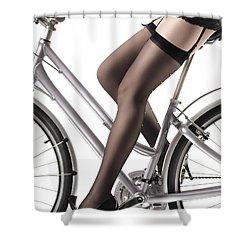 Sexy Woman Riding A Bike Shower Curtain