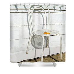 Shower Curtain featuring the photograph Shadows Of Suspended White Chair And Autumn Leaf by Gary Slawsky