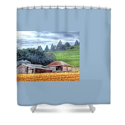 Shed And Grain Bins 17238 Shower Curtain by Jerry Sodorff