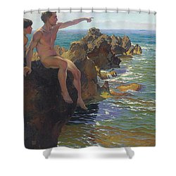 Ship Ahoy Shower Curtain by Paul Von Spaun