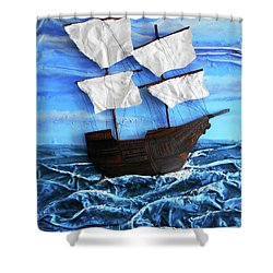 Shower Curtain featuring the mixed media Ship by Angela Stout