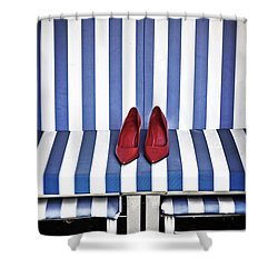 Shoes In A Beach Chair Shower Curtain by Joana Kruse