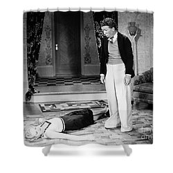 Silent Film Still: Fainting Shower Curtain by Granger