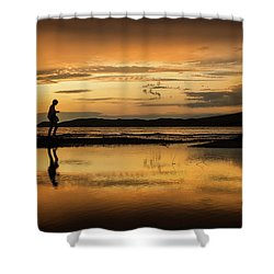 Silhouette In Sunset Shower Curtain