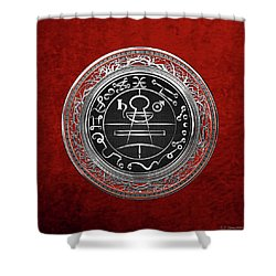 Silver Seal Of Solomon - Lesser Key Of Solomon On Red Velvet  Shower Curtain
