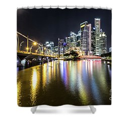 Singapore River At Night With Financial District In Singapore Shower Curtain