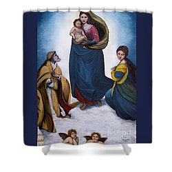 Sistine Madonna Shower Curtain by Judy Kirouac