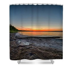 Shower Curtain featuring the photograph Skeleton Lake Beach At Sunset by Darcy Michaelchuk