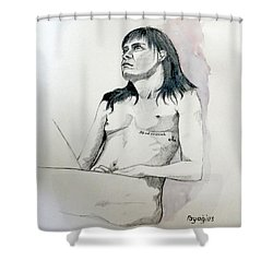 Sketch For White Amber Shower Curtain by Ray Agius