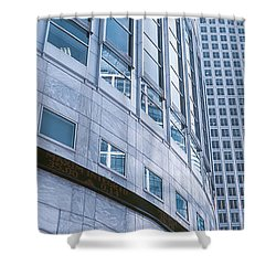Skyscrapers In A City, Canary Wharf Shower Curtain by Panoramic Images