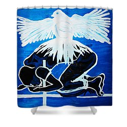 Slain In The Holy Spirit Shower Curtain by Gloria Ssali